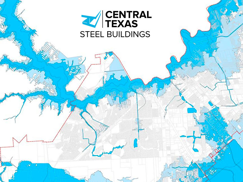 Check flood map before building steel building in Texas